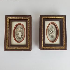 Set of 2 framed paper tole, artist and pianist